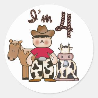 Cowboy  4th Birthday Classic Round Sticker