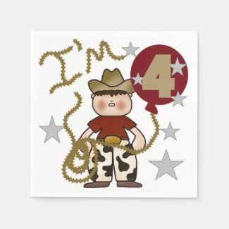 Cowboy 4th Birthday Paper Napkins