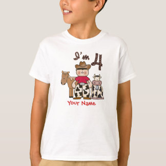 Cowboy  4th Birthday Personalized T-Shirt
