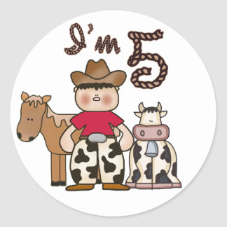 Cowboy  5th Birthday Classic Round Sticker