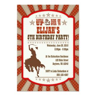 Cowboy 5th Birthday Party Invitation