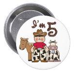 Cowboy  5th Birthday Pins