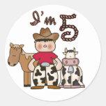 Cowboy  5th Birthday Round Stickers