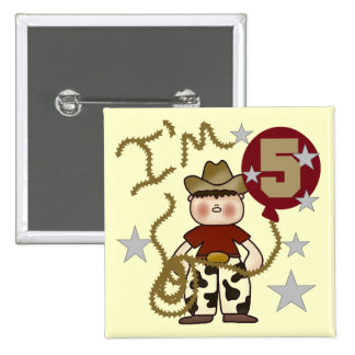 Cowboy 5th Birthday T-shirts and Gifts Button