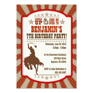 Cowboy 7th Birthday Party Invitation