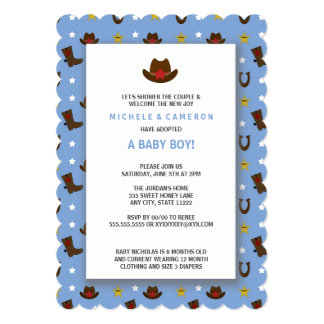 cowboy adoption baby shower invite - Adoption Party Invitations