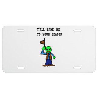 Cowboy Alien Cartoon License Plate