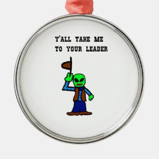 Cowboy Alien Cartoon Metal Ornament
