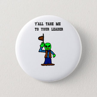 Cowboy Alien Cartoon Pinback Button