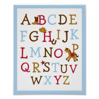 Cowboy Alphabet Nursery Wall Art