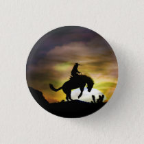Cowboy and Bucking Horse Button