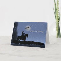 Cowboy and Cattle with Santa Season's Greetings Card