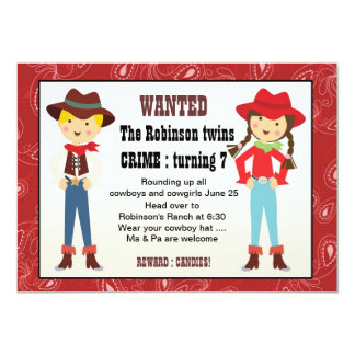 Cowboy and cowgirl birthday invitation