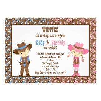 Cowboy and Cowgirl Birthday Invitations