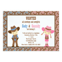 Cowboy and Cowgirl Birthday Invitations