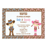 Cowboy and Cowgirl Birthday Invitations Personalized Announcement