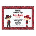 "Cowboy and Cowgirl Birthday Invitations 5"" X 7"" Invitation Card"