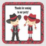 Cowboy and Cowgirl Birthday Stickers Stickers