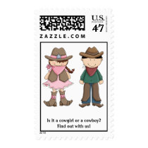 Cowboy and Cowgirl Gender Reveal Postage Stamps