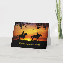 Cowboy and Cowgirl Happy Anniversary Card