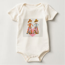 Cowboy and Cowgirl in love Baby Bodysuit