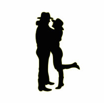 Cowboy and Cowgirl in Love Silhouette Statuette