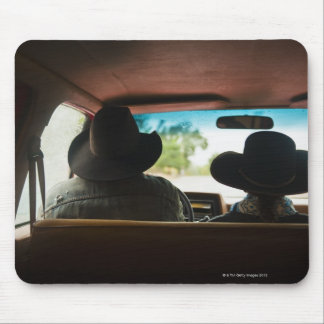 Cowboy and cowgirl in truck mousepad