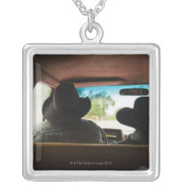 Cowboy and cowgirl in truck silver plated necklace