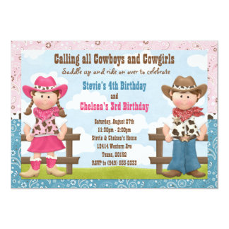 Cowboy and Cowgirl Joint Sibling Birthday Party Card