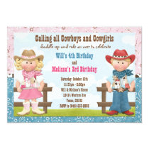 Cowboy and Cowgirl Joint Sibling Birthday Party Invitation
