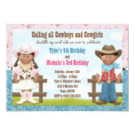 Cowboy and Cowgirl Joint Sibling Birthday Party Custom Invitation