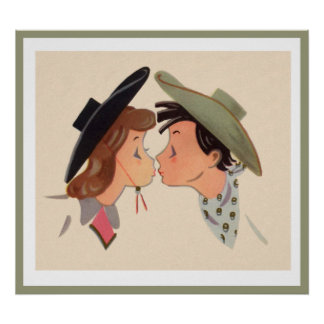 Cowboy and Cowgirl Kissing Poster