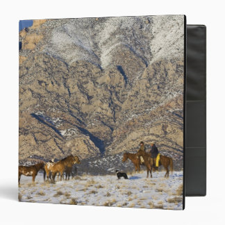 Cowboy and Cowgirl on Horses watching Herd 3 Ring Binder