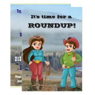 Cowboy and cowgirl party roundup card