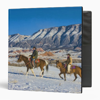 Cowboy and Cowgirl riding Horse through the Snow 3 Ring Binder