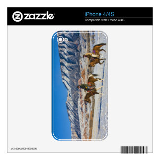 Cowboy and Cowgirl riding Horse through the Snow iPhone 4 Decals