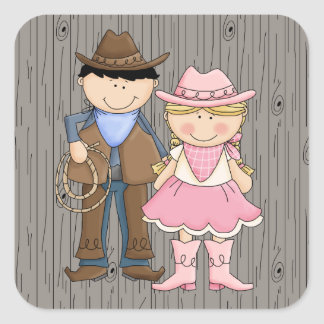 Cowboy and Cowgirl Square Sticker