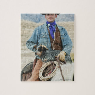 Cowboy and dog on horse jigsaw puzzles