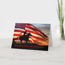 Cowboy and Flag It's The Ride Birthday Card