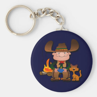 Cowboy and His Cat Basic Round Button Keychain