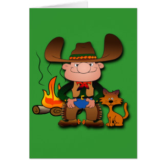Cowboy and His Cat Card