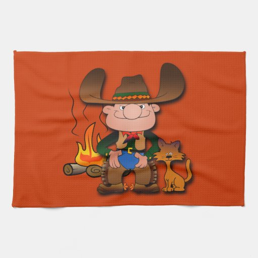 Cowboy and His Cat Hand Towel