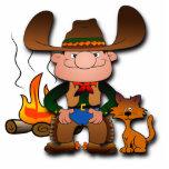 Cowboy and His Cat Photo Cutouts