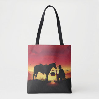 Cowboy and Horse at Sunset All-Over-Print Tote Bag