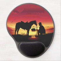 Cowboy and Horse at Sunset Gel Mouse Pad