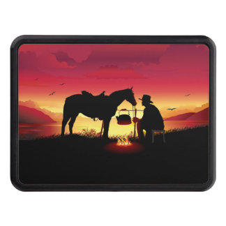 Cowboy and Horse at Sunset Hitch Cover
