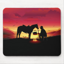 Cowboy and Horse at Sunset Mouse Pad