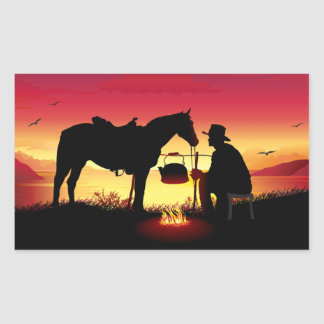 Cowboy and Horse at Sunset Stickers