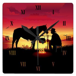 Cowboy and Horse at Sunset Wall Clock