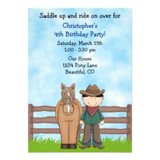 Cowboy and Horse Birthday Invitation